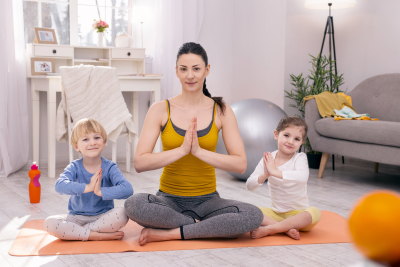 yoga instructor with two children